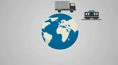 Different modes of transport, infographics and symbols Stock Footage