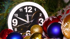 Clock and christmas toys in red bag, timelapse, 4k - stock footage