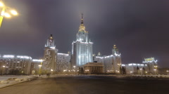 The Main Building Of Moscow State University On Sparrow Hills At Winter Stock Footage
