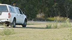 Kangaroos crossing dirt road - pan shot  Arkistovideo