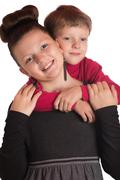 The boy and the girl embraced Stock Photos