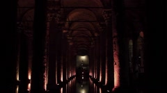 Pillars and reflections in the catacombs under Istanbul - stock footage