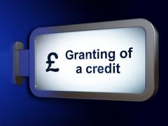 Banking concept: Granting of A credit and Pound on billboard background - stock illustration