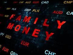 Banking concept: Family Money on Digital background - stock illustration