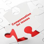 Banking concept: Compensation For losses on puzzle background - stock illustration