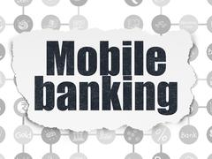 Stock Illustration of Banking concept: Mobile Banking on Torn Paper background