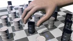 Game of checkers played with oils drums, 3D animation Stock Footage