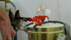 Glassworks. Glass workshop. Artist is carving elephant from glass Stock Footage
