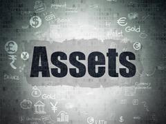 Money concept: Assets on Digital Paper background Stock Illustration