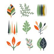 Leaf Set in Flat Design Stock Illustration