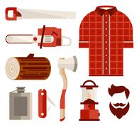 Wood and Tools of Lumberjack in Flat Style. Vector Illustration Set Stock Illustration