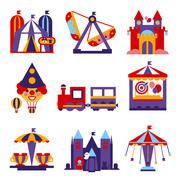 Amusement Park Vector Flat Design Illustrations Set - stock illustration
