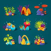 Set of cartoon algae, elements for aquarium decoration - stock illustration