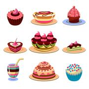 Bright Cakes and Dessert Icons Set Vector Illustration - stock illustration