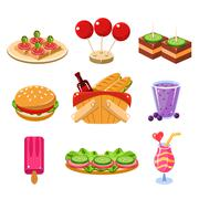 French Picnic Food Icons Set - stock illustration