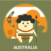 Australian Aborigine in Flat Style - stock illustration