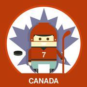 Canadian in Hockey Uniform Vector Illustration - stock illustration
