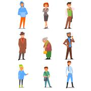 People of Different Lifestyle, Age and Profession. Vector Flat Illustration Set - stock illustration