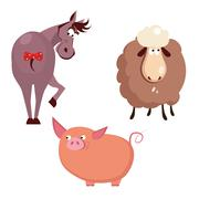 Donkey, Pig and Sheep. Farm Animals Vector Stock Illustration