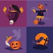Halloween Pumpkin, Cauldron and Scarecrow Vector Illustration Set Stock Illustration