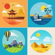 Stock Illustration of Summer Vacation Landscape Illustrations Set