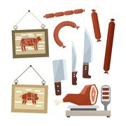 Meat and Butchers Flat Design Icons Set - stock illustration