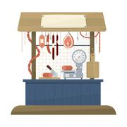 Stock Illustration of Butchers Shop Flat Design Icon