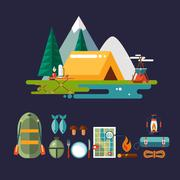 Camping and Hiking Icons. Flat Design - stock illustration