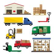Warehouse Transportation and Delivery Icons Flat Set Stock Illustration