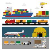 Transportation and Shipping Icons Flat Set Stock Illustration