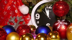 Clock and christmas toys in red bag, timelapse, 4k Stock Footage