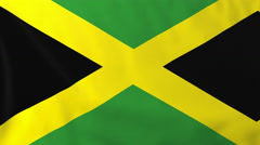 Flag of Jamaica waving in the wind, seemless loop animation - stock footage