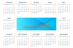 Vector template calendar 2016 . Week starts with sunday - stock illustration
