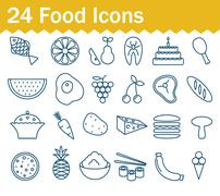 Thin line food icons set. Outline icon collection Stock Illustration