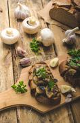 Mushroom mixture on rustic toast with garlic - stock photo