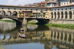 Ponte Vecchio over the River Arno, Florence, UNESCO World Heritage Site, - stock photo
