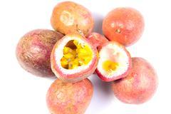 Passion fruits on white background - stock photo