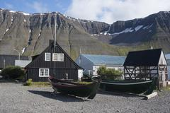 Old boats and houses at Isafjordur, West Fjords, Iceland, Polar Regions Stock Photos