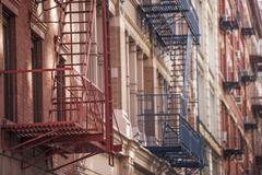 Fire escapes in Soho, New York, United States of America, North America Stock Photos