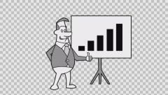 Hand Drawn Animated Man Turns Chart. Alpha channel  Stock Footage
