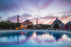 Hagia Sophia (Aya Sofya) (Santa Sofia), UNESCO World Heritage Site, at sunset, - stock photo