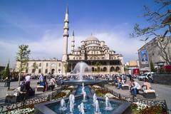 Yeni Mosque (New Mosque) and fountain, Istanbul, Turkey, Europe - stock photo