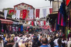 Busy market street near The Grand Bazaar (Kapali Carsi), Istanbul, Turkey, Stock Photos