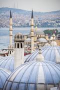 New Mosque (Yeni Cami) seen from Suleymaniye Mosque, Istanbul, Turkey, Europe - stock photo