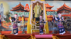 Young beautiful lady show Lanna Thai dance. Stock Footage