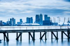 Canary Wharf from London Docklands, London, England, United Kingdom, Europe Stock Photos
