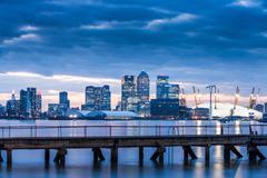 Canary Wharf from London Docklands, London, England, United Kingdom, Europe Stock Photos