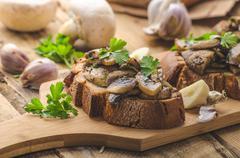 Mushroom mixture on rustic toast with garlic Stock Photos