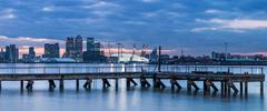Canary Wharf from London Docklands, London, England, United Kingdom, Europe - stock photo