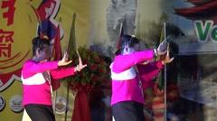 Stock Video Footage of Actress show fingernails dance to travelers at Asian Vegetarian Fair.